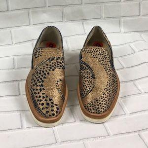 Free People Snake eyes Gold Metallic Loafers SZ 36